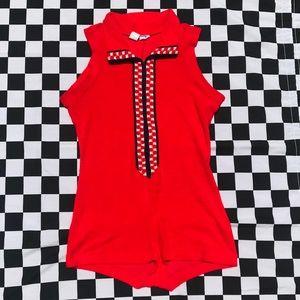 Vintage Red Checkerboard Romper 🏁